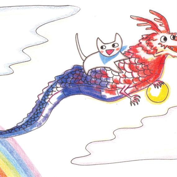 ポストカード10枚セット「ネコ:龍に乗って」