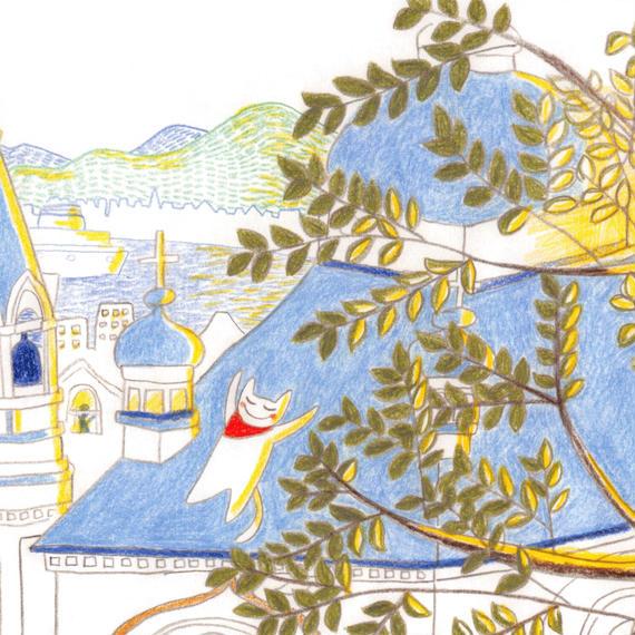 ポストカード10枚セット「ネコ:教会の屋根で午睡」