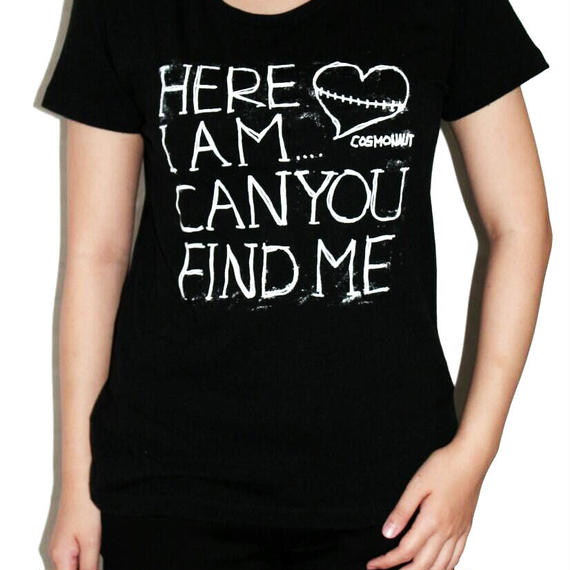 HERE I AM... CAN YOU FIND ME GIRLS TEE BLACK
