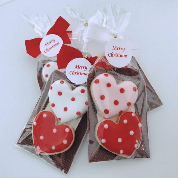 ドット柄 ハートクッキー(2枚)