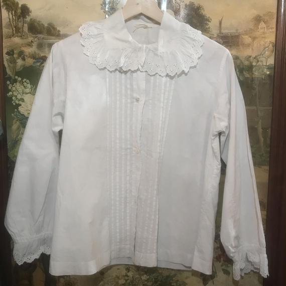 F-troupe Vintage - Edwardian Embroidery Cotton Blouse