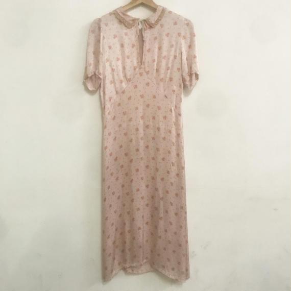 1930s floral satin dress