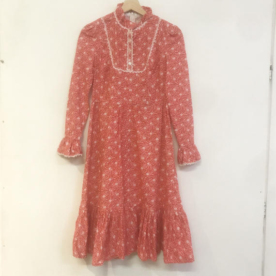 F-troupe Vintage - 1970s  floral print dress RED
