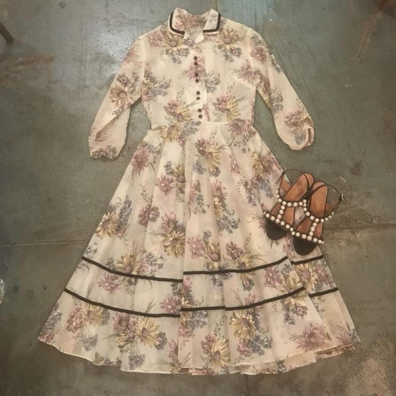 1950s Floral Print Sheer Dress