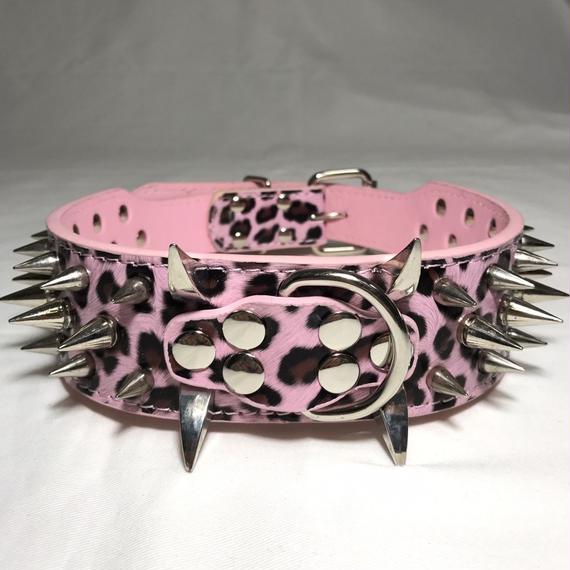 3ライン スパイクカラー レオパード ピンク色