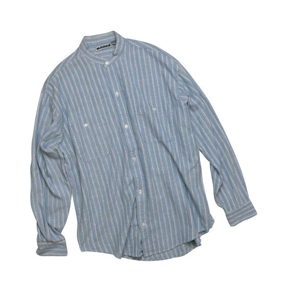 """USED """"BAND COLLAR"""" STRIPED SHIRT"""