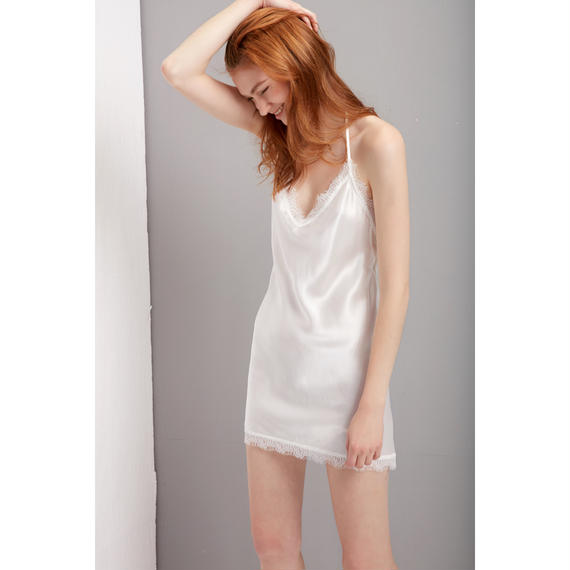 シルクスリップドレス 白