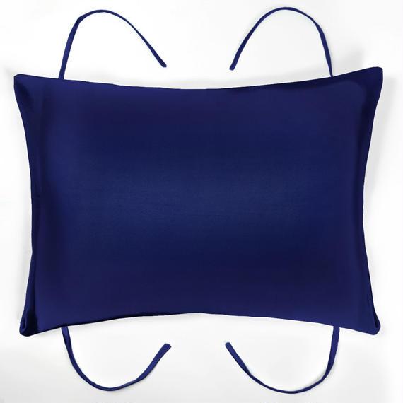 紐付き枕カバー ネイビー