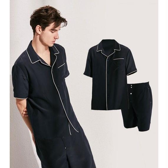 メンズ シルク100% パジャマ 半袖  上下セット