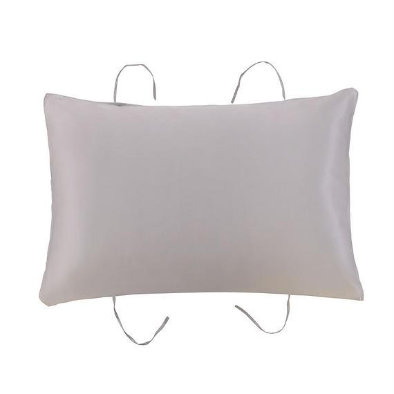紐付き枕カバー  シルバーグレー