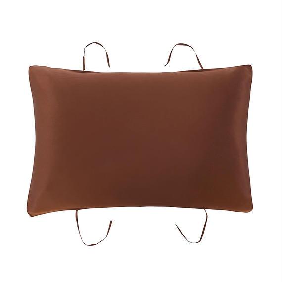 紐付き枕カバー ブラウン