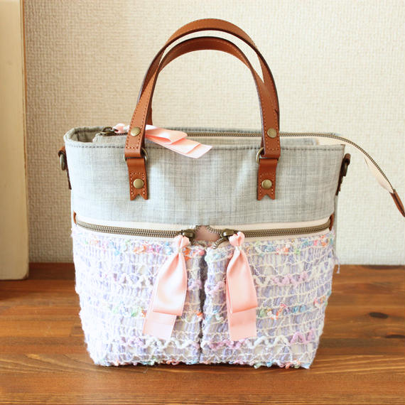 B227_2 pocket shoulder tote / gray × lavender
