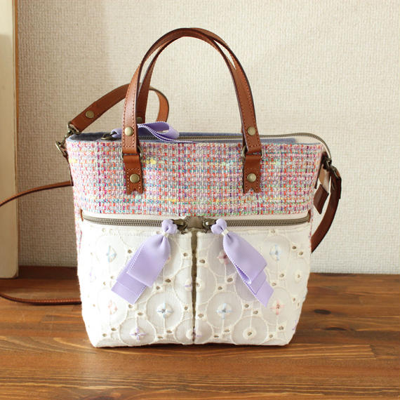 B230_2 pocket shoulder tote / pink mix tweed × lace