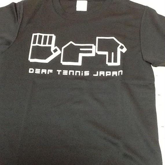 ドライフィットTシャツ 指文字「てにす」黒×白