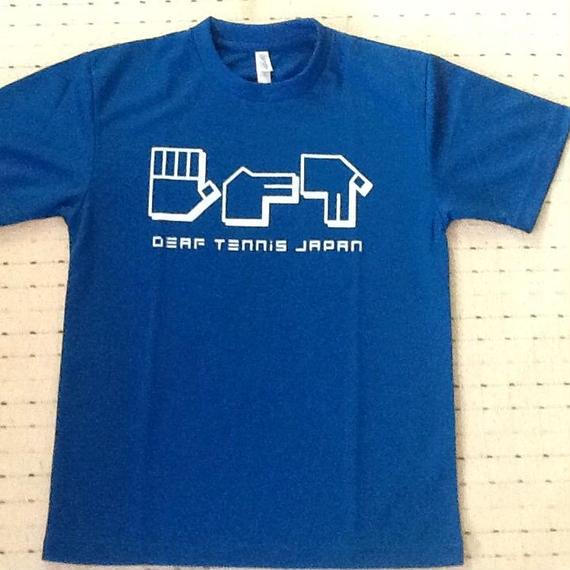 ドライフィットTシャツ 指文字「てにす」青×白