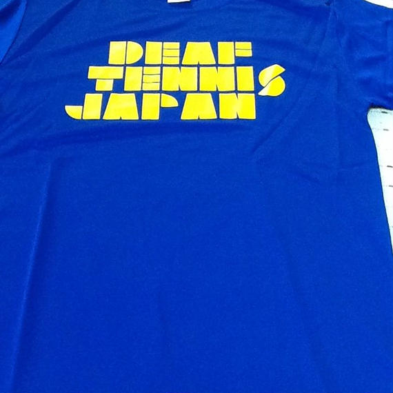 ドライフィットTシャツ 「DEAF TENNIS JAPAN」青×黄色