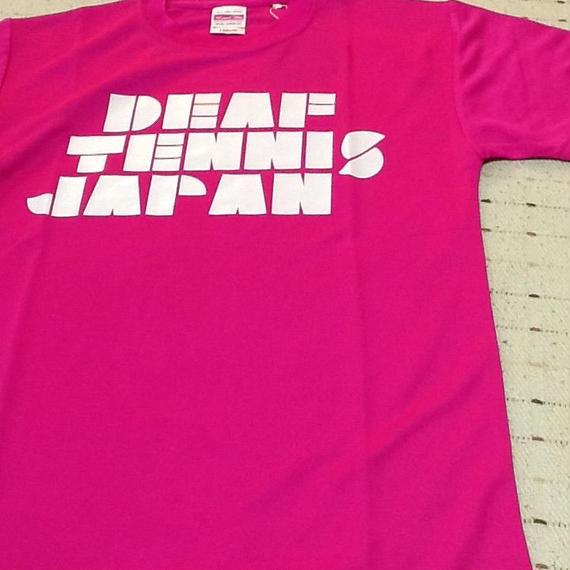 ドライフィットTシャツ 「DEAF TENNIS JAPAN」ピンク×白