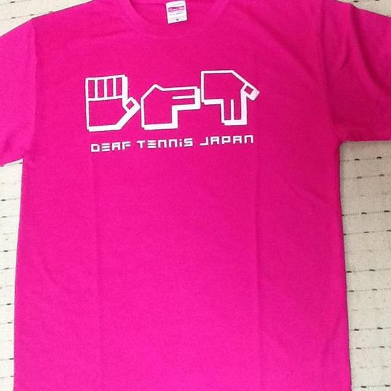 ドライフィットTシャツ 指文字「てにす」ピンク×白