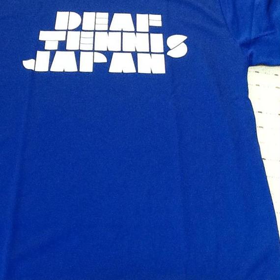ドライフィットTシャツ 「DEAF TENNIS JAPAN」青×白