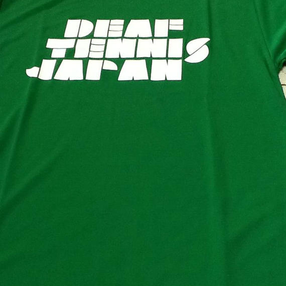 ドライフィットTシャツ 「DEAF TENNIS JAPAN」緑×白