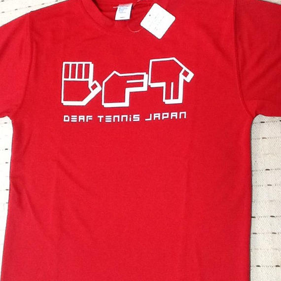 ドライフィットTシャツ 指文字「てにす」赤×白