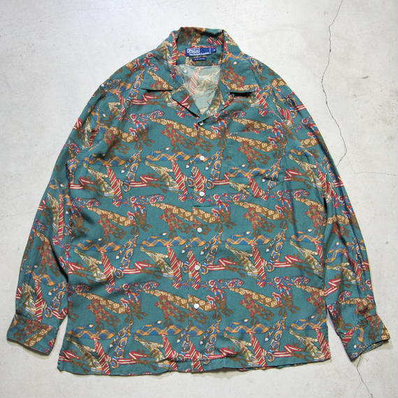 90's Ralph Lauren Open Collar L/S Shirts 極上 ネクタイ柄 M
