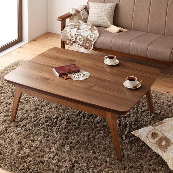 天然木ウォールナット材 北欧デザインこたつテーブル new! Lumikki ルミッキ 長方形(75×105cm)