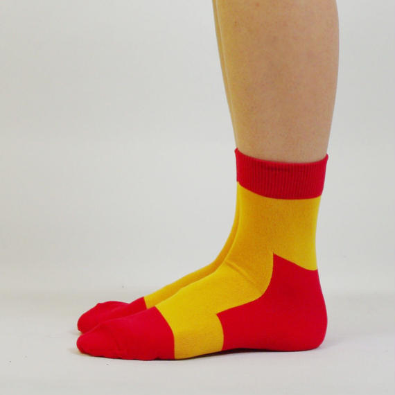 SHOP別注カラー LET'S GO SOCKS / 32 RED YELLOW