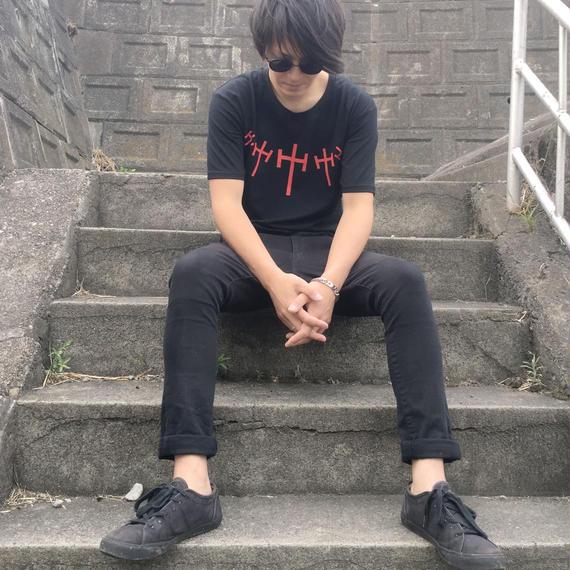 *ブラックプリントTシャツ*