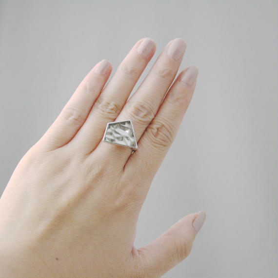 Silver Glass Ring - 01