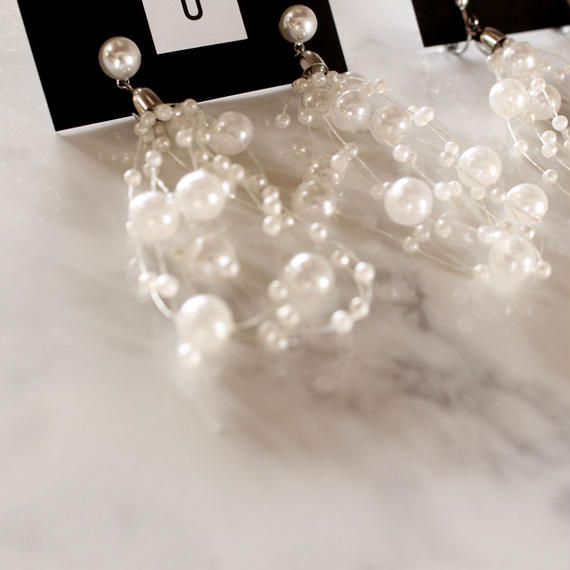 【To U DEPARTMENT】 CONTINUOUS PEARL PIERCE & EARRING  | SILVER