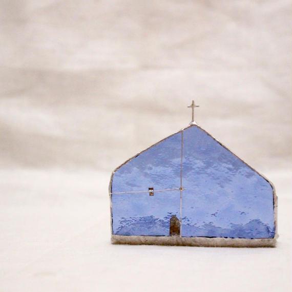 Church Candle Holder カラーガラス × シルバー 横長タイプ - blue