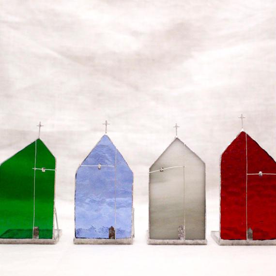 Church Candle Holder カラーガラス × シルバー