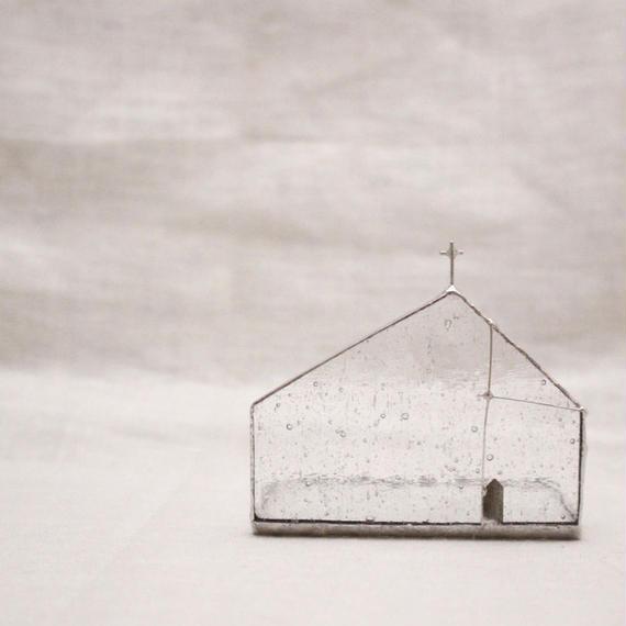 Church Candle Holder カラーガラス × シルバー 横長タイプ - クリア気泡