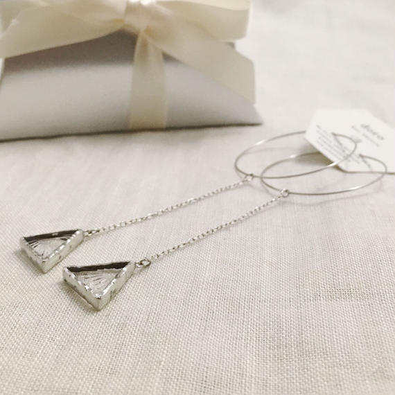 [NEW] Triangle Hanging Hoop Pierce フープピアス