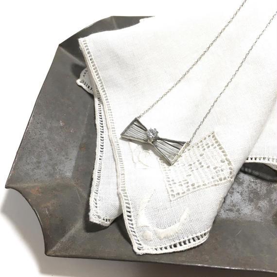 Ribbon Necklace / zirconia