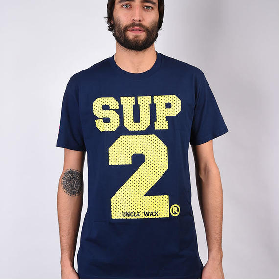 SUP2 MESH PRINT TEE (Navy/Yellow)