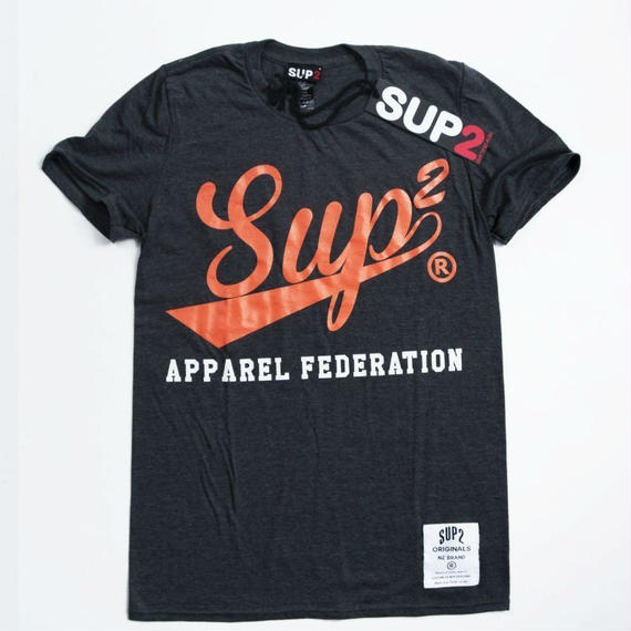 APPAREL FEDERATION MENS TEE (Heather Charcoal/Orange)