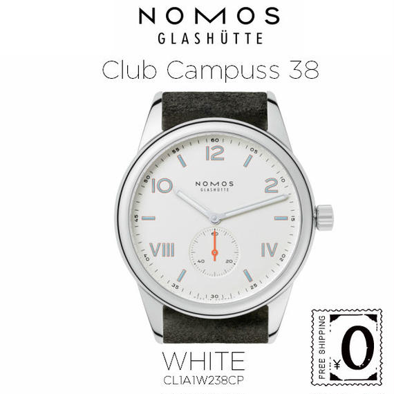 NOMOS GLASHUTTE Club  Campuss 38(クラブ キャンパス 38)ホワイト / シースルーバック (CL1A1W238CP)