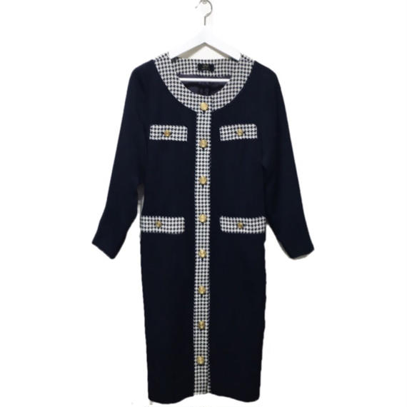 piping check one-piece navy