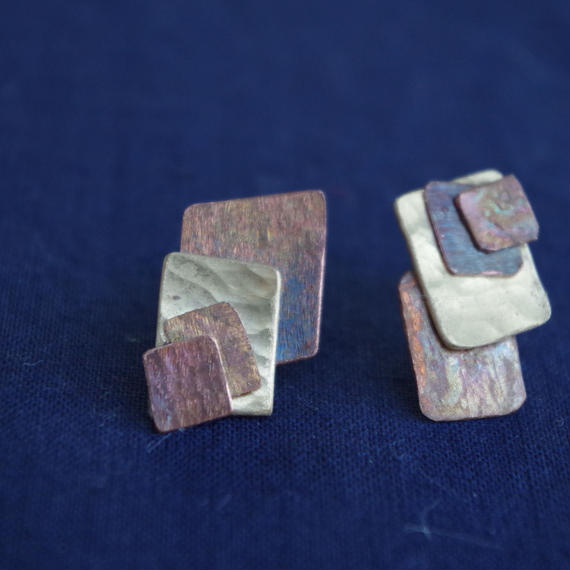 brass and copper pierce-a square and square-