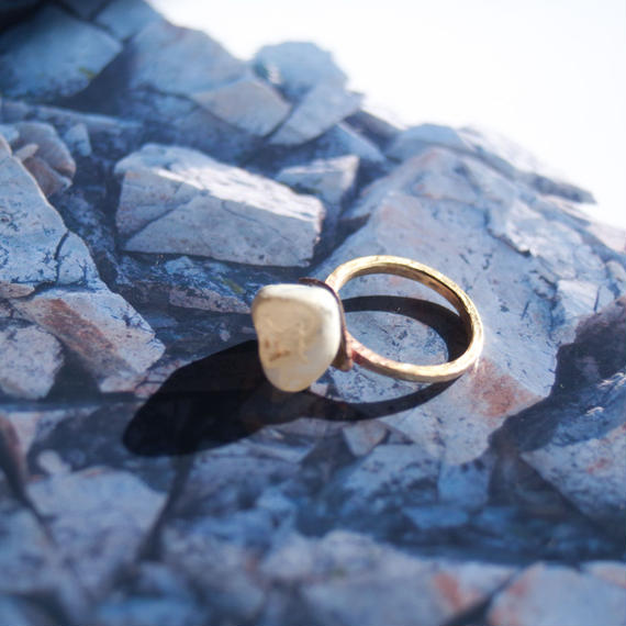 agate and brass ring-瑪瑙石と真鍮の指輪-