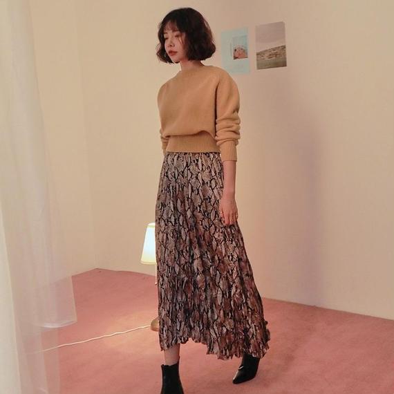 【EruMon】パイソンプリーツスカート ミドルスカート ロングスカート