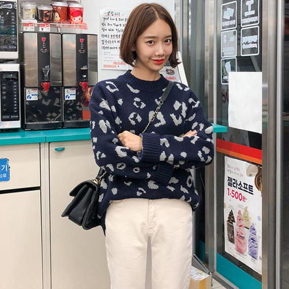 【EruMon】シックレオパードニット アニマル セーター ヒョウ柄