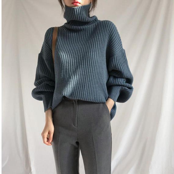 【EruMon】タートルネックボリュームスリーブニット セーター ハイネック ボリューム袖