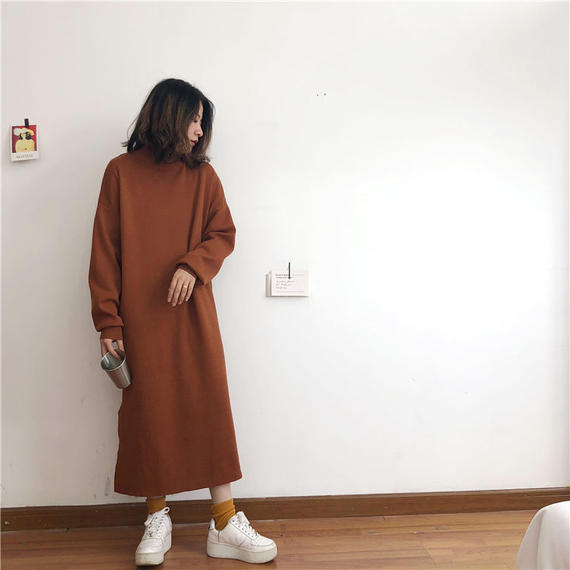 【EruMon】サイドスリットハイネックニットワンピース ワンピ ドレス ニットワンピ ロングワンピ