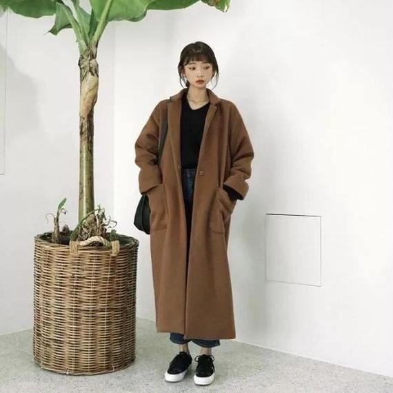 【EruMon】オーバーサイズチェスターコート コート コーディガン