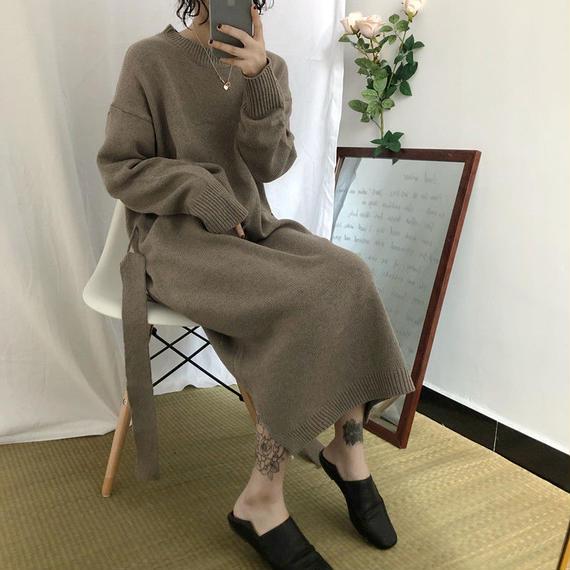【EruMon】ウエストマークニットワンピース ニットドレス ニットワンピ