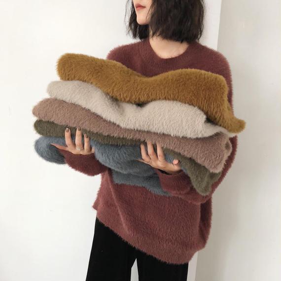 【EruMon】シャギーオーバーニット ファー オーバーサイズ ニット セーター