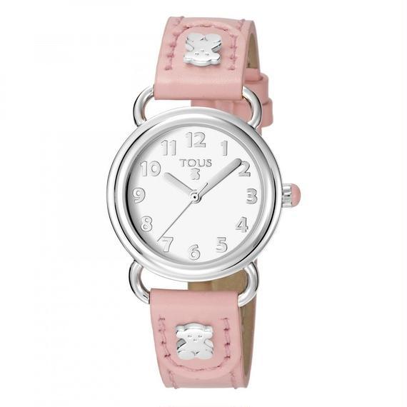 ピンクの革バンドが付いたステンレス腕時計 Baby Bear(500350180)